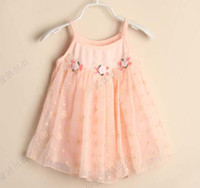 Wholesale Fashion Bowknot Princess Dress Children Wear Chiffon Dresses Suspender Dress Girl Clothes Cute Lace Embroidered Dresses Baby Summer Dress