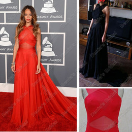 Wholesale Celebrity Dress Inspired by Rihanna the th Grammy Awards Red Carpet Dresses Sheer Halter Real Images Poly Chiffon Dresses