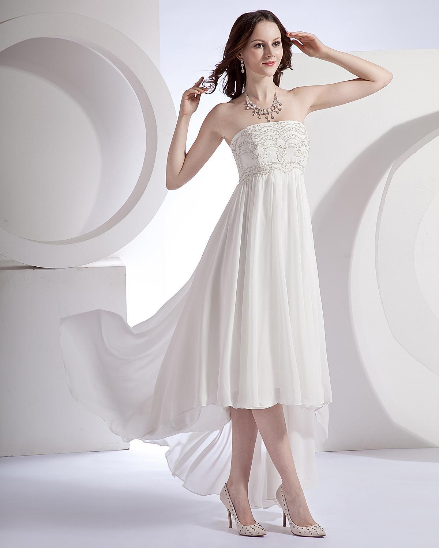 Fashion Elagant A Line Strapless Front Short Long Back