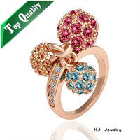South American Women's Party R014 colorful girls finger rings SWAROVSKI CRYSTAL for women fashion ring finger rings photos hot selling products ring size 6 7 8