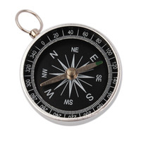 Aluminum Silver and black 4.9*4.3*1.0 Fashion 10Pcs lot Silver Mini Portable Outdoor Camping Keychain Survival Compass New Free Shipping