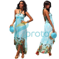 Wholesale Freeshipping New Fashion M XXL Plus Size Women Strapless Halter Printed Maxi Long Beach Dress Summer Caual Dress