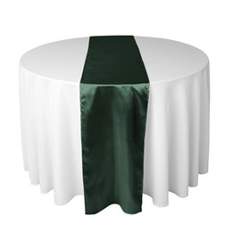 """20 Pcs Hunter Green SATIN TABLE RUNNERS 12"""" x 108"""" Wedding Party Decorations Choose Color NEW"""