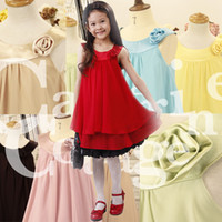 Summer rosettes chiffon - Beautiful girls dress colors rosette princess dress Baby chiffon dress
