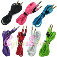 Wholesale 100pcs colorful cm mm to mm audio Car Aux Extension Cable for mp3 for phone Speaker