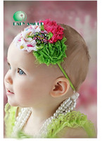Wholesale New arrival Baby girl headbands flowers headwear with pearl girl Hairband baby hair accessories