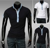 Men Cotton Polo 2013 new arrive Men's T-shirts short sleeve mens t shirt polo shirts M L XL XXL black white 2735