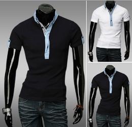 Wholesale 2013 new arrive Men s T shirts short sleeve mens t shirt polo shirts M L XL XXL black white
