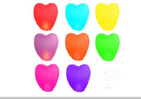 Wholesale new arrive Sky Fire Flying Floating Chinese Sky Lanterns Assortment of Colors with the shape of heart