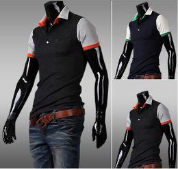 Wholesale 2013 new arrive Men s T shirts short sleeve mens t shirt mixed colour polo shirts M L XL XXL