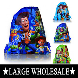 Wholesale Hot Sale Toy Story kids Handbags Cartoon Drawstring Backpack Bags Mixed Designs Non woven34 CM Kids Best Gift Party Favor