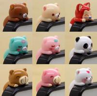 al por mayor enchufe del polvo del iphone del oso-Barco gratuito a 100pcs de 3,5 mm de los Auriculares 3D de dibujos animados del Oso Cerdo Diseños de Auriculares Anti Polvo Plug prueba de Polvo del Oído Cap para el Teléfono Celular iPhone 5 4 4S 5G