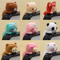 Wholesale Free Ship mm Headset D Cartoon Bear Pig Designs Earphone Anti Dust Plug Dustproof Ear Cap for Cell Phone iPhone G S