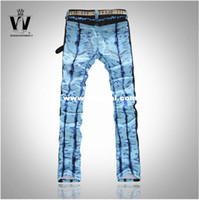 Wholesale International big fine quality cotton fabrics painted jeans fashion jeans