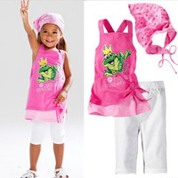 0-2years baby pink kiss - Summer baby suit Kiss me Frog vest short pants headband pieces set