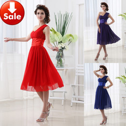 Wholesale New Youthful Blue Purple Red One Shoulder Ruffles A Line Short Chiffon Graduation Dresses Homecoming Party Gowns Cheap In Stock