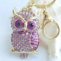 Wholesale Charming Bird Owl Key Chain w Purple Rhinestone Crystals KPY03502C1