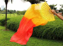 Wholesale high quality new Arrival belly dance silk fans veil gradient colour inch in length fan accessory