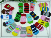 Wholesale 4Pcs Cotton Warm Soft Dog Cat Puppy Dogs Pet Knits Socks Anti Slip Skid Socks Bottom Dog shoes socks