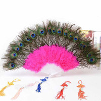Wholesale 2013 belly dance dancing feather fan veils peacock fans props accessories stage costume wear for performance