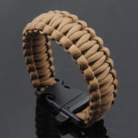 Wholesale Outdoor Survival Escape Life saving Bracelet Paracord Hand Made with whistle plastic buckle