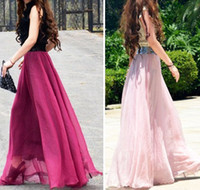 Chiffon Mid-Calf A-Line 2014 Hot Sale New Arrival Women Ladies Swing Expansion Skirts Bottom Beach Maxi Long Full Solid Elastic Waist 9 Colors Free Shipping