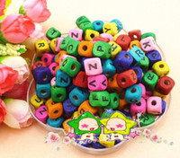 Wholesale 100Pcs Diy Jewelry Accessories Children string Beads Material Square Wood Colored Alphabet Beads