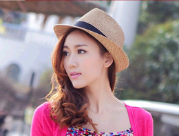 2015Essential new Korean version sun hat sun hat straw hat hat for male female beach couple beach hat 10pcs lot