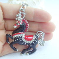 Wholesale Purse Charming Black Horse Key Chain w Clear Rhinestone Crystals KK75099502