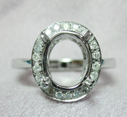 Wholesale Oval x12mm kt White Gold Natural Diamond Semi Mount Engagement Ring N021