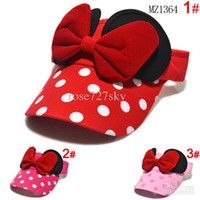 Wholesale Popular Baby girl summer visor hat Cartoon bowknot baby visor cap Children s baseball cap Kids peaked cap