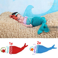 Wholesale Crochet baby hair flower bra dress set The Little Mermaid style baby cosplay clothes set Handma