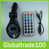 Wholesale Car Mp3 Player FM Transmitter Modulator Remote Music Player Support SD Card USB SD MMC LCD Free DHL