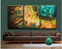 Wholesale HJ367 PC Green canvas Vase of Lotus flowers oil painting on canvas no framed