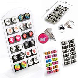 288Pcs(12cards) Playboy Logo Ear Stud Earring Enamel Logo Letter Mix 4 Style Body Jewelry [JE20007-JE20010*3]