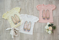 Wholesale Hot selling Baby girl T shirt Cartoon shoes girl T shirt cotton Modaie summer girl clothes