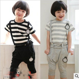 Wholesale 2013 Summer New Arrival Years Baby Boy s Cotton Short Sleeve Two piece Sets Kid s Striped T shirts Suspender Breeches Cute Sports Suits