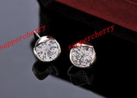 Wholesale 1pairs Gold amp Silver TONE ROUND Zircon Stud Earrings Crystal Zirconia Earrings Baby Jewelry Accessories