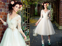 Wholesale 2014 New Arrival White Sexy Deep V neck A line Tea Length Wedding Dresses With Lace Appliqued Sleeves Tulle Sash Handmade Flower Gowns