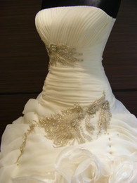 2017 Real Images Elegant Ball Gown Bridal Wedding Dresses Strapless Beaded Embroidery Organza Court Train Wedding Gowns