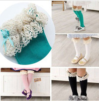baby socks lace - Hot Sale Girls Knee Length Lace Cotton Socks Baby Girl s Cotton Lace Triming Stockings Kid s Pure Color Multicolor Optional Socks