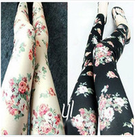 Wholesale Rose Flower Leggings For Ladies Imitation Jeans Women flower tights Colors New Fashion Style