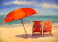 Wholesale Tina Wassel Keck Original Small Oil Painting A Day Seascape Beach Chairs x10 quot