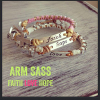 Wholesale New Faith Love Hope Charm Bracelet Genuine Leather Cord S Clasp Link Crystal Braid shamballa bracelets friendship vintage handcraft jewelry