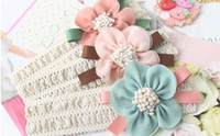Wholesale Girls princess lace headband Baby headband elastic adorned with big chiffon flower months to years baby hair accessories gifts