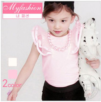 5,7,9,11,13 high quality t-shirt white - Hot Sale High Quality Cotton Girls Flying Sleeve T shirt Korean Style Round Neck Solid Top Pink White