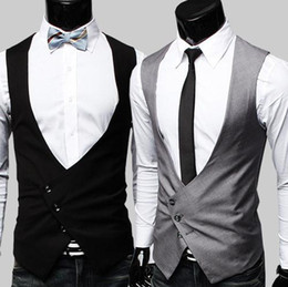 Wholesale 2015 Fashion Men Jacket Three Button Suit Slim Collarless Vest Waistcoat Handsome Men Vest M L XL JM
