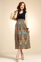 Wholesale 2013 Women Summer Dresses One piece dress Beach skirt Korean skirt Bohemia Chiffon Dress