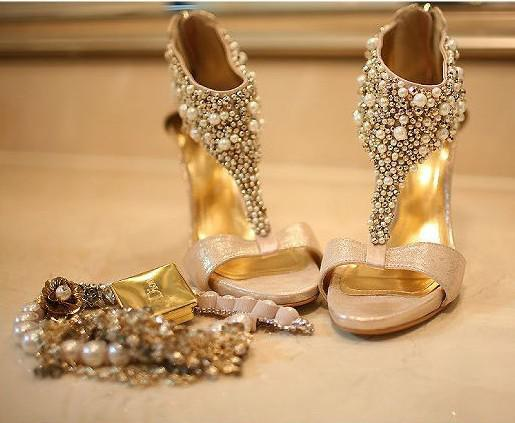 Gold Womens Heels Fs Heel