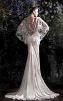 Wholesale New Arrival New Sexy Backless Spaghetti Beaded Vintage inspired Lace cape Mermaid Wedding Dresses Chapel train Galia Lahav Dress